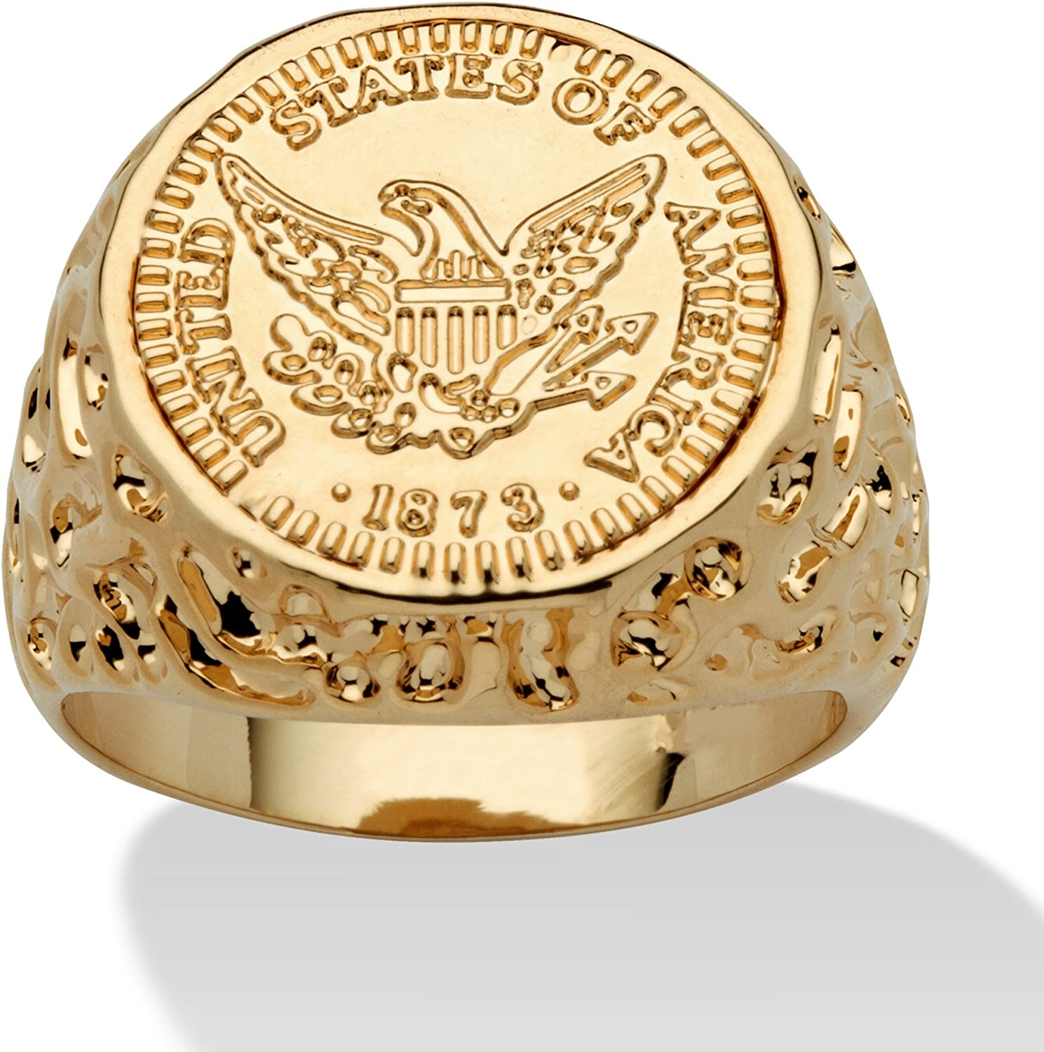 Palm Beach Jewelry Men's 14K Yellow Gold Plated American Eagle Coin Replica Nugget Ring