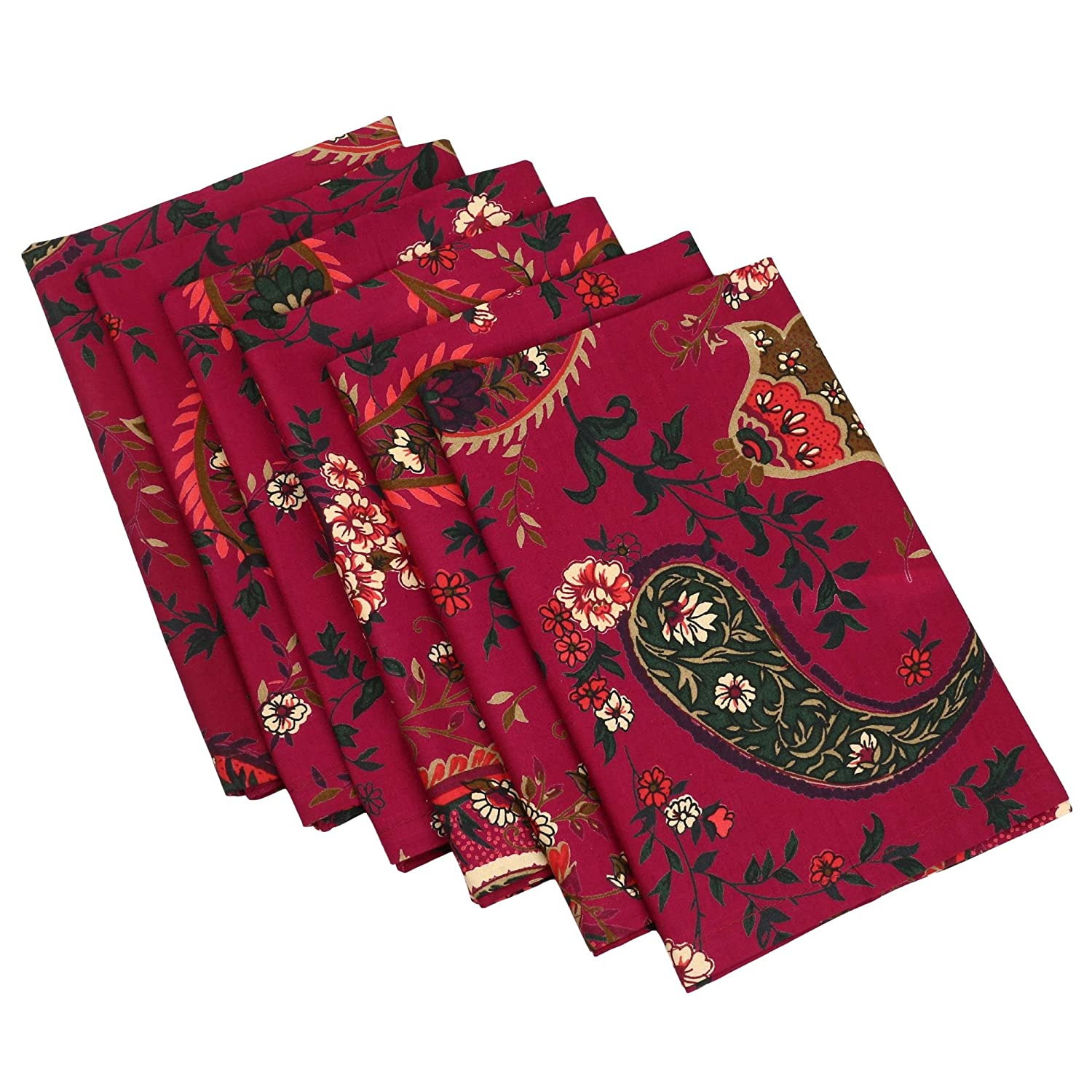 Printed Cotton 20x20 Inches Napkins Set Of 6 Indian Table Decor 200TC by ShalinIndia