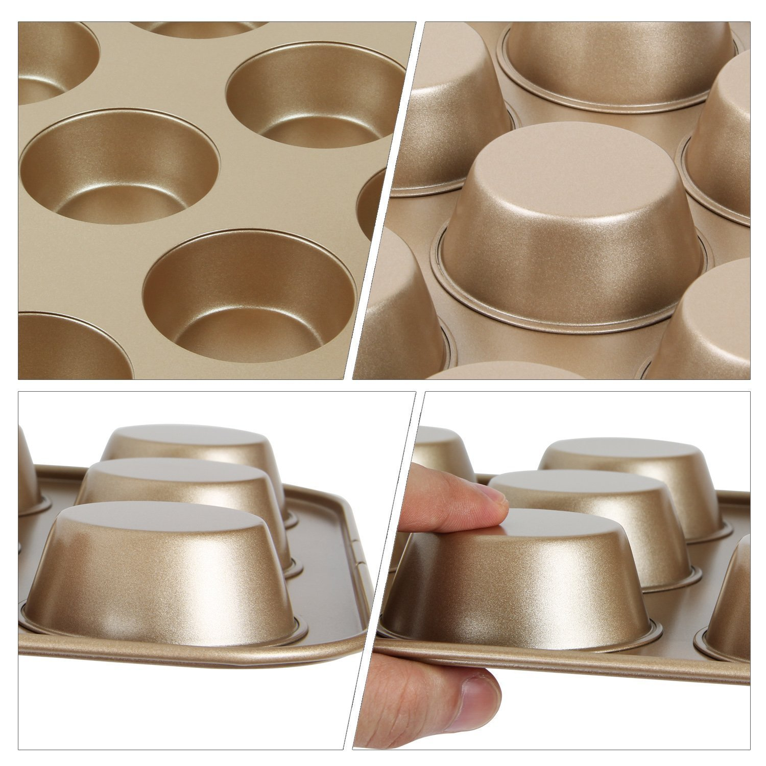 Beneking 12 Cup Muffin Pan, Non-Stick Bakeware for Perfect Cupcake Results Small Size 2 Pack Golden