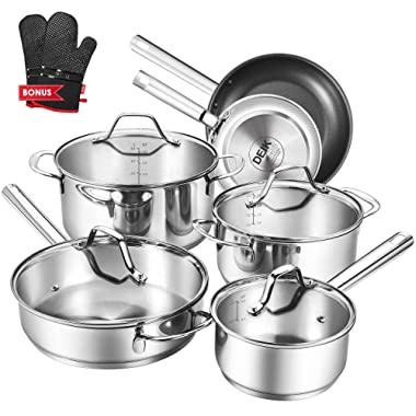 Deik Cookware Set, Kitchenware Set, MultiClad Pro Stainless Steel 10-Piece Pots and Pans Set, Rustproof & Oven-Safe Cooking Pots, PFOA Free & Riveted Handles with a Bonus of Oven Mitts SH-10