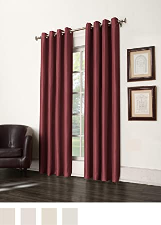 Sun Zero Antique Satin Room Darkening Grommet Curtain Panel 50 By 95 Inch