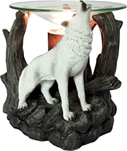 DWK - Starlight Symphony - Howling White Wolf in The Woods Scented Wax Tart Melt Warmer Oil Burner Aromatherapy Lamp Nocturnal Wilderness Forest Creature Ghost Home Decor Meditation Accent Light