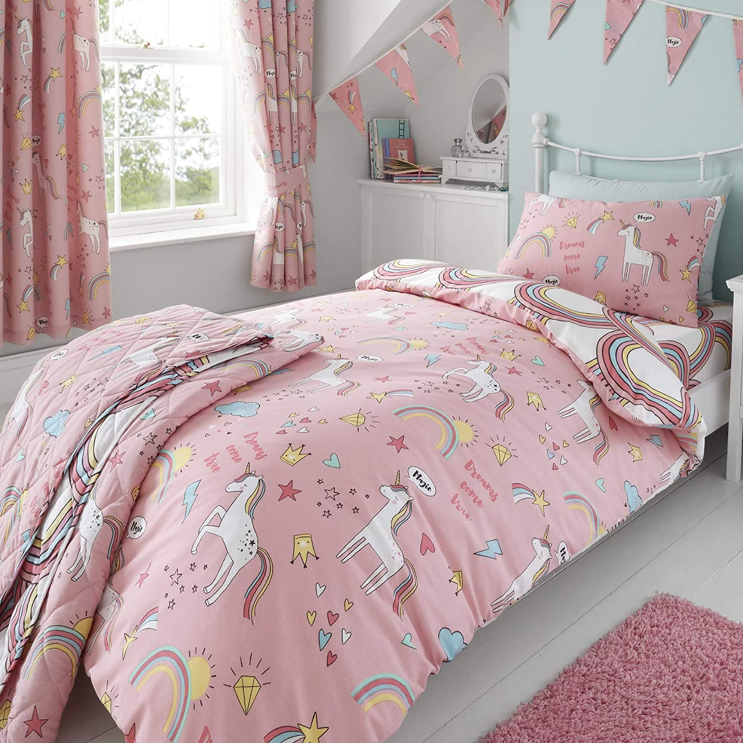Happy Linen Company Girls Kids Unicorns Rainbows Pink Single Reversible Duvet Cover Bedding Set Amazon Co Uk Kitchen Home