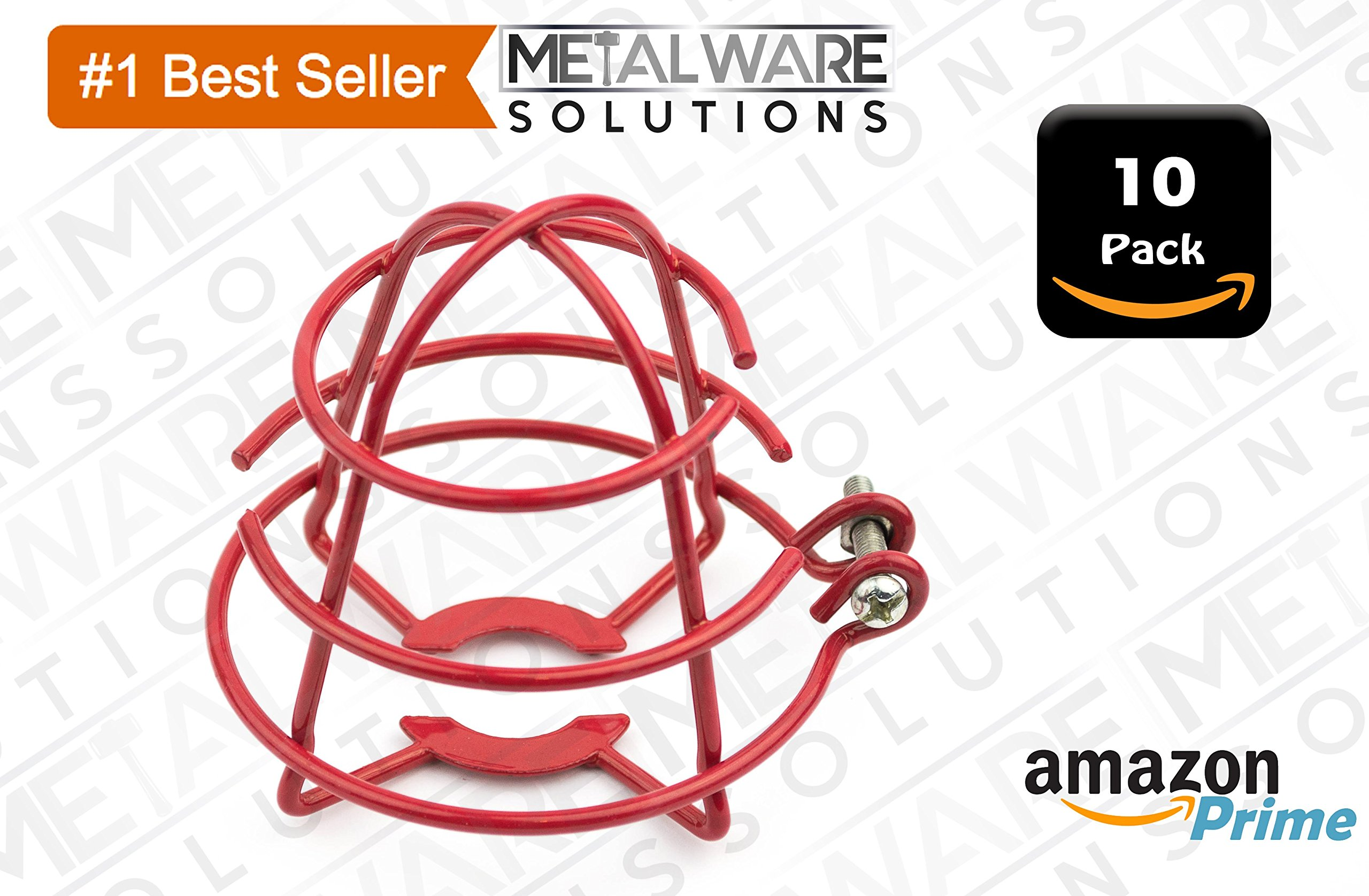 10 Pack Metalware Solutions Red Fire Sprinkler Head Guard with Easy Screw Cover for 1/2'' IPS Head