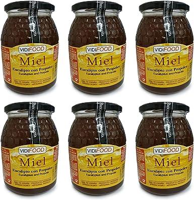 Miel de Eucalipto con Propóleo - 6kg - Producida en España - Mejora tus defensas y tu sistema circulatorio - Aroma Amaderado Intenso, Sabor Dulce: Amazon.es: Alimentación y bebidas