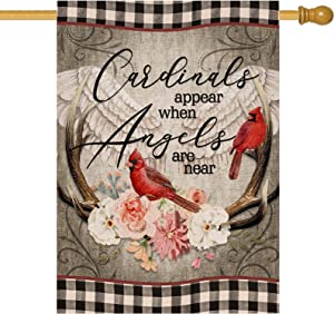 Hzppyz Cardinals Appear When Angels are Near Home Decorative House Flag, Buffalo Check Plaid Garden Yard Red Bird Wings Decor Double Sided, Spring Outside Decoration Farmhouse Outdoor Large Flag 28x40