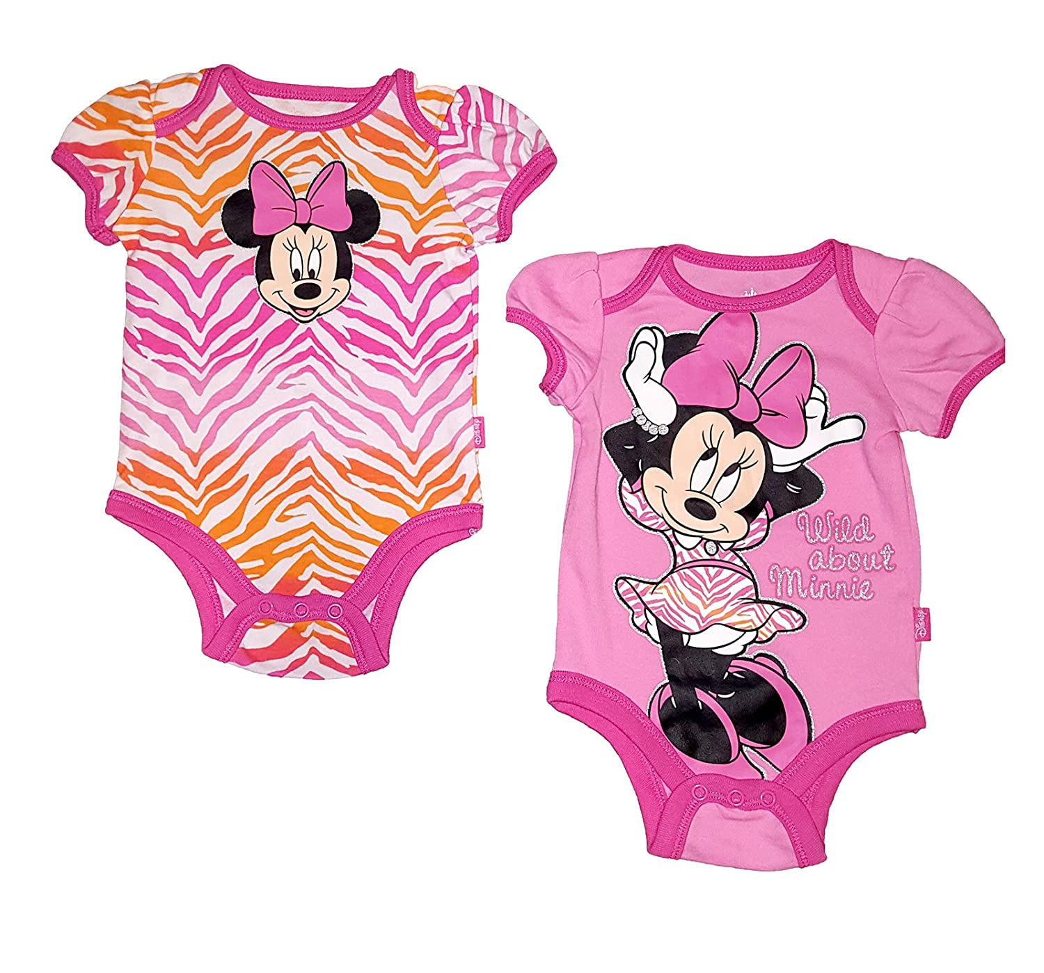 e538f8b5b Amazon.com: Disney Baby Minnie Mouse Infant 2 Pack Creeper Romper Set:  Clothing