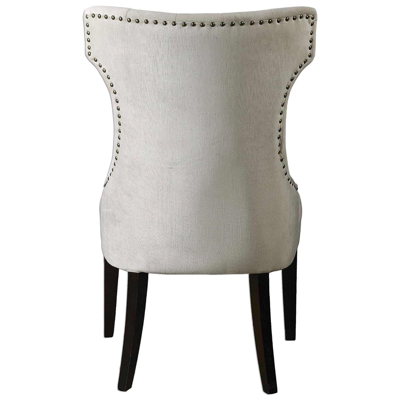 Amazon Kaylin Modern Classic Tuft Velvet Ivory Beige Wing Chair