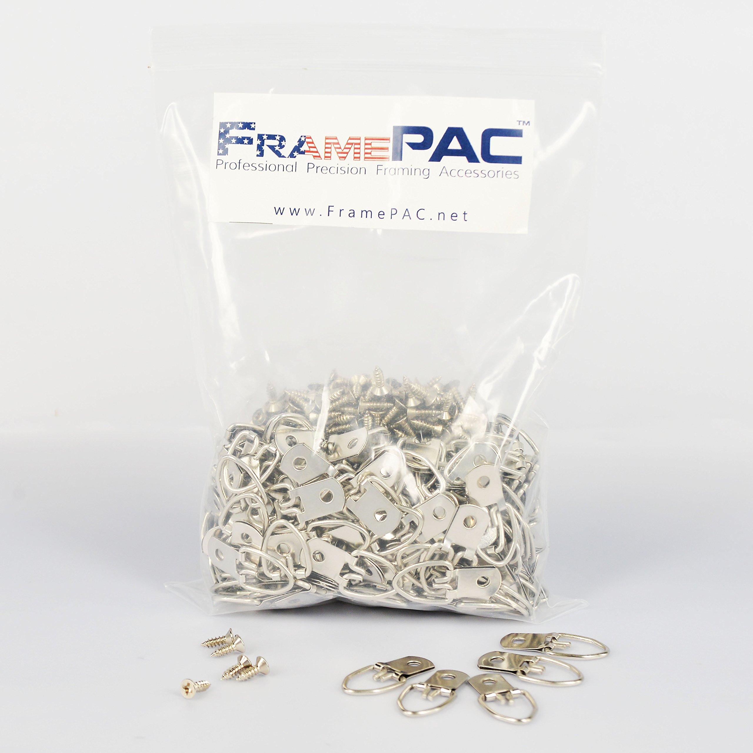 Picture Frames Single Hole Clasp D Ring Hangers W/Screws (300 Pcs)