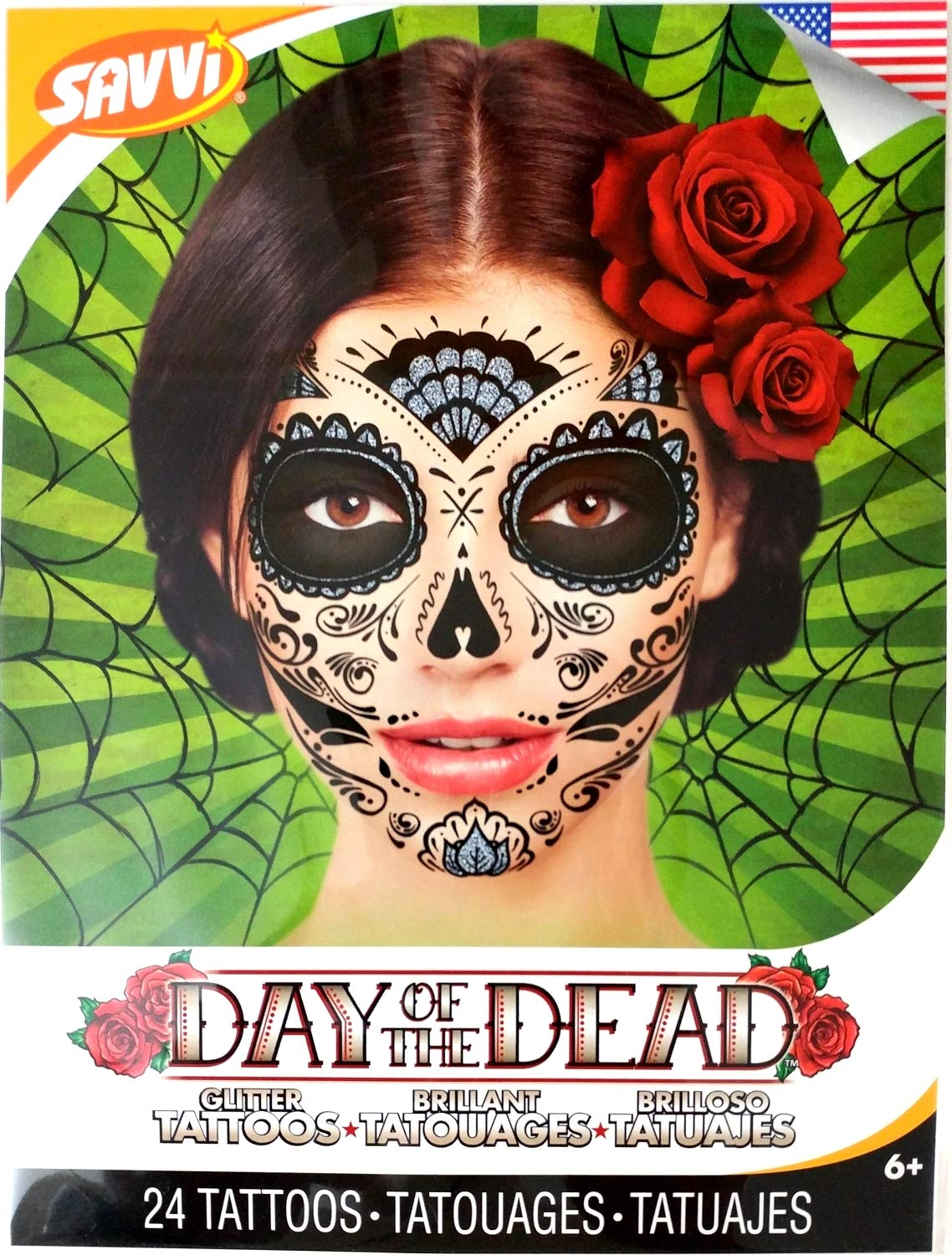 Black Glitter Skeleton Day of the Dead Temporary Face Tattoo Kit: Men or Women - 2 Kits Savvi Day of the Dead Face Tattoos