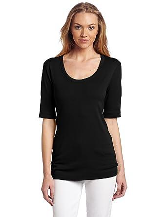 ad0f81aa5e464f Red Dot Women's Cotton Knits 1/2 Sleeve Scoop Neck Black T-Shirt LG