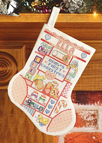 janlynn baby girl first christmas stocking counted cross stitch kit 10 long - Girl Christmas Stocking