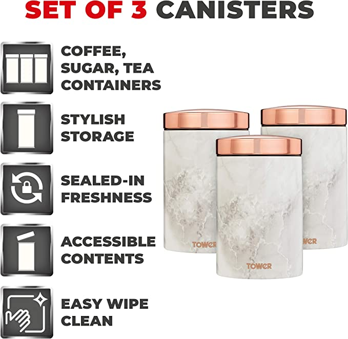 Stainless Steel Tower T826005WR Set of 3 Storage Canisters for Coffee//Sugar//Tea White Marble and Rose Gold