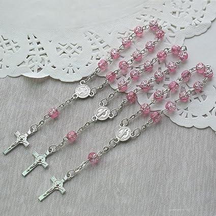 Amazon.com: 24 Pcs Rosebud Mini Rosario Favor para bautismo ...