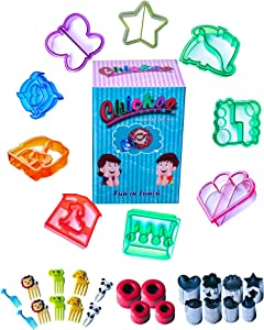 Chickoo 31pcs Sandwich Cutters Set for Kids - Includes Cookie Cutters - Cheese Cutter - Vegetable Cutter - Fruit Cutter and Food Picks for Boys, Girls and Toddlers Lunch Maker- Great for Lunch Box.
