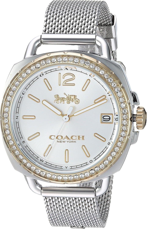 Coach Womens 14502804 Tatum Silver Stainless Mesh Glitz Watch