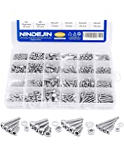 880Pcs M2 M3 M4 M5 Stainless Steel Precise Metric Hex Socket Head Cap Self Tapping Screws,Machine Laptop screw Round Flat Socket Bolts and Nuts Set Washers Assortment Kit +Wrench (Stainless Steel, Hex head)