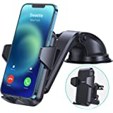 【Steady & Never Obstruct View】 iPhone Dashboard Mount for Car【Safe & Hands-Free】 Car Phone Mount for Vent Windshield fit with