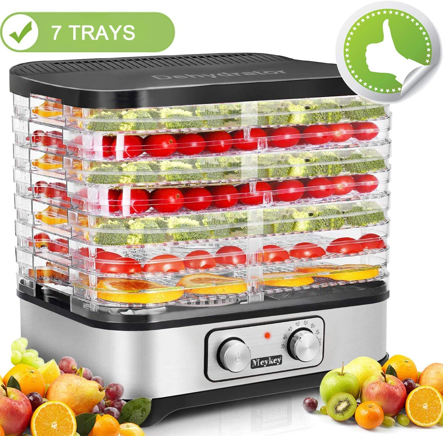 Food Dehydrator Machine, Jerky Dehydrators with 7-Tray, Perfect for Beef Jerky, Herbs, Fruit Leather