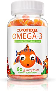 Coromega Kids Omega 3 Fish Oil Gummies, 50mg DHA and 10 mg EPA of Omega-3s Fatty Acids, Dietary Supplement, Orange, Lemon, and Strawberry Banana Flavors, 60 Gummies per Bottle
