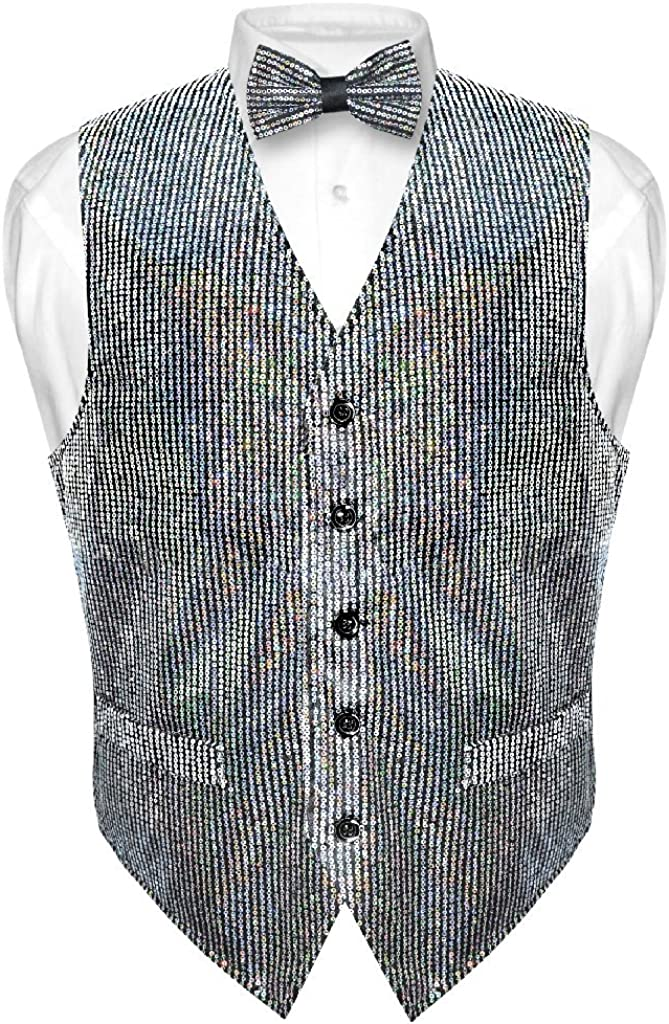 Men's Sequin Design Dress Vest & Bow Tie Silver Color Bowtie Set for Suit Tux