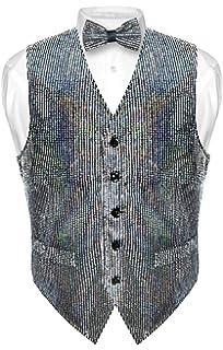 0a1ea7c28d45 Men's Sequin Design Dress Vest & Bow Tie Silver Color Bowtie Set for ...
