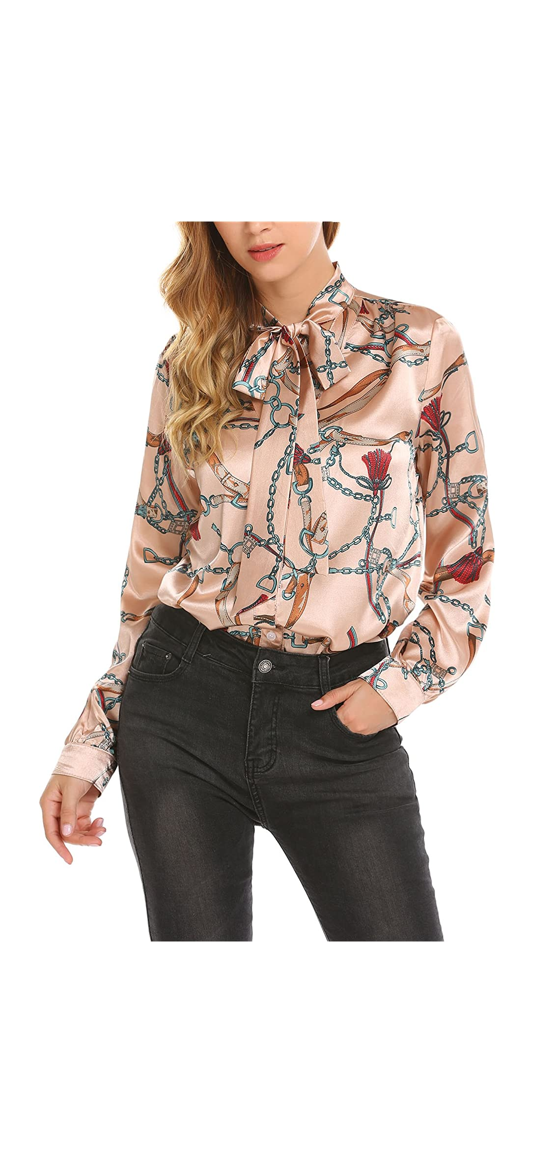 Women's Fashion Collar Long Sleeve Print Casual Button