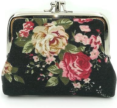 Cute Floral Buckle Coin Purses Vintage Pouch Kiss-lock Change Purse Walle.U