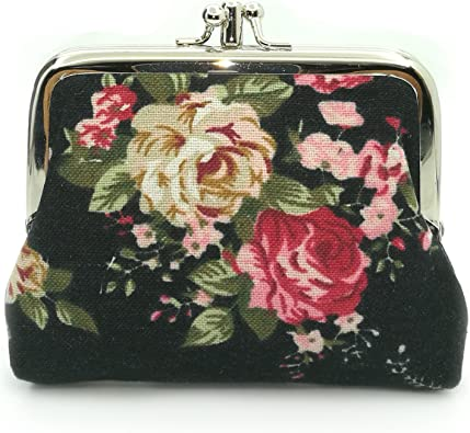 Red black bag flamenco Red velvet clutch Kiss lock Coin wallet Metal frame Kiss Lock Coin Purse Gift for her Metal Frame Purses