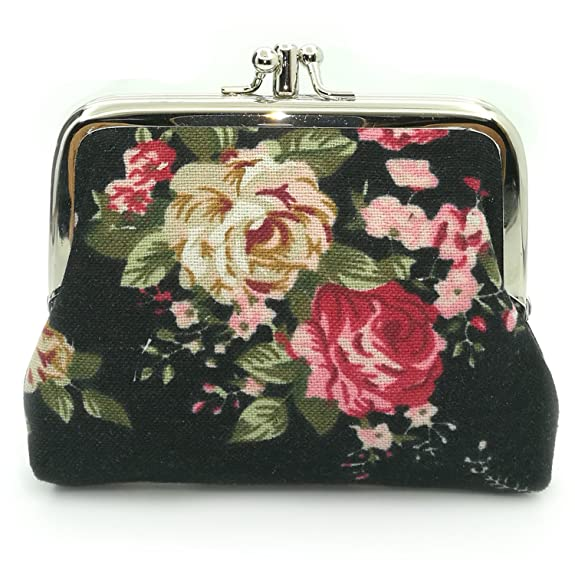 Vintage & Retro Handbags, Purses, Wallets, Bags Cute Floral Buckle Coin Purses Vintage Pouch Kiss-lock Change Purse Wallets $6.99 AT vintagedancer.com