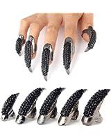 Danibos Punk Style Crystal Rhinestone Paved Paw Bend Fingertip Finger Claw Ring Set Fake False Nails Set (Black,10PCS)