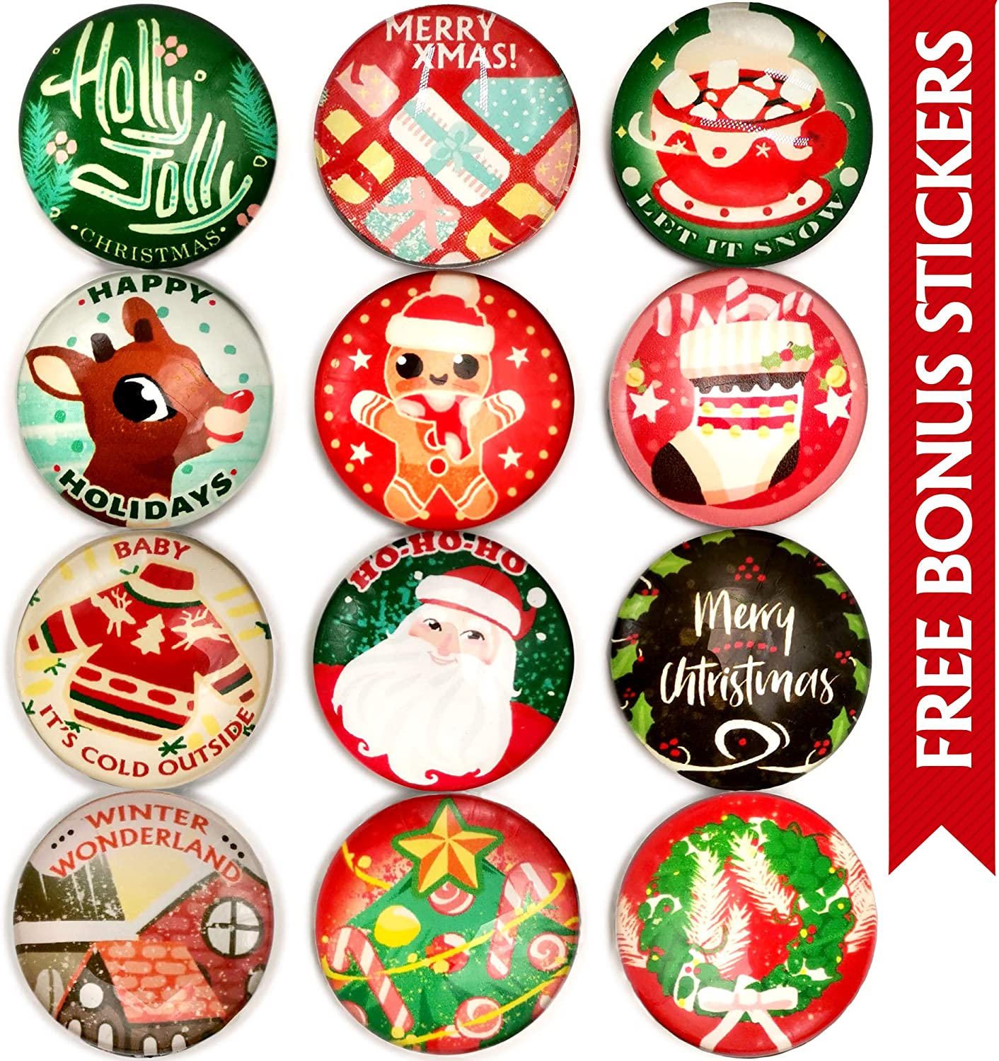 Christmas Magnets for Refrigerator 12pcs - Glass Fridge Magnets for Christmas Decoration Clearance - Christmas Ornaments for Kitchen, Home, Decor, Stickers - Funny Christmas Decoration Magnets