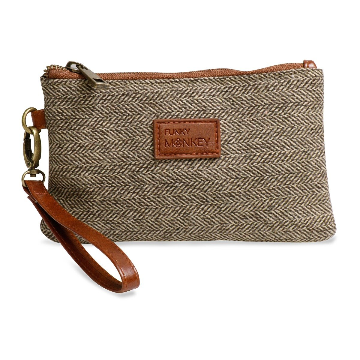 {Sophie Collection} Wristlet Wallet Clutch Bag - Phone Purse Handbag - Small, Medium, Large Size - Brown & Beige Herringbone Style - Funky Monkey Fashion (Medium)