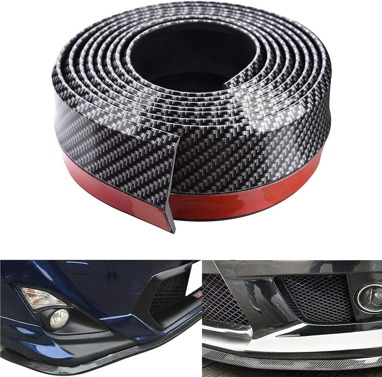 Carbon Fiber Black 250cm Universal Rubber Bumper Lip Guard Strip Spoiler 3D Side Skirt Fits Most Cars Spurtar Front Bumper Spoiler 8.2ft