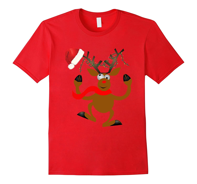 Funny Christmas Reindeer Santa T-shirt Xmas lights Humor Tee-BN