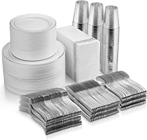 700 Piece Silver Dinnerware Set - 200 Silver Rim Plastic Plates - 300 Silver Plastic Silverware - 100 Silver Plastic Cups - 100 Linen Like Silver Napkins, 100 Guest Disposable Silver Dinnerware Set
