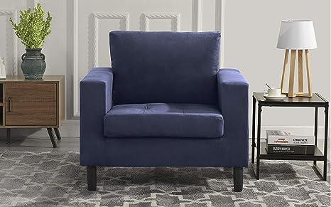Mid Century Modern Tufted Velvet Armchair, Living Room Chair (Navy)