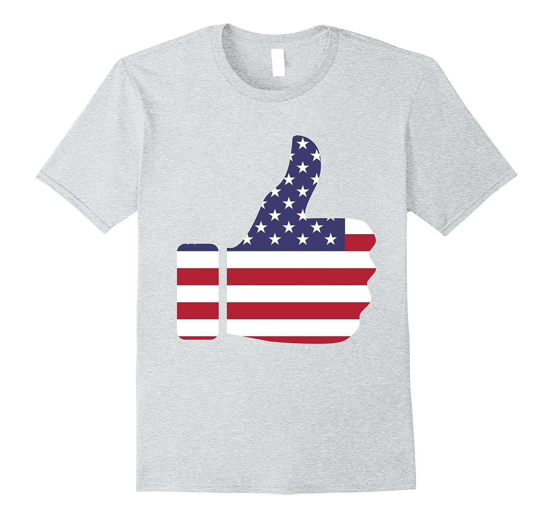 American Flag Thumbs Up Emoji USA Fourth of July Shirt-Teevkd
