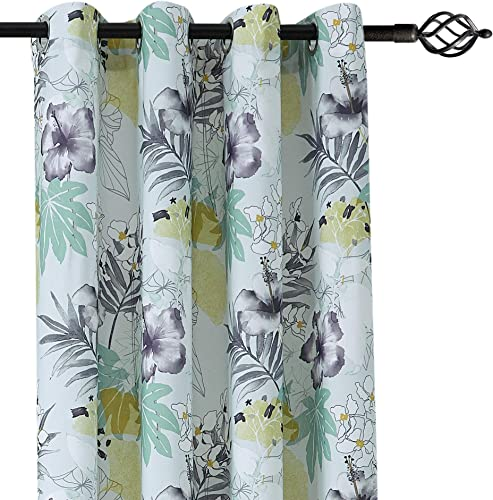 CANIRICA Nature Floral Leaf Printed Decorative Window Curtains for Living Room Grey,2 Panels, 52 Inch Wide by 95 Inch Length