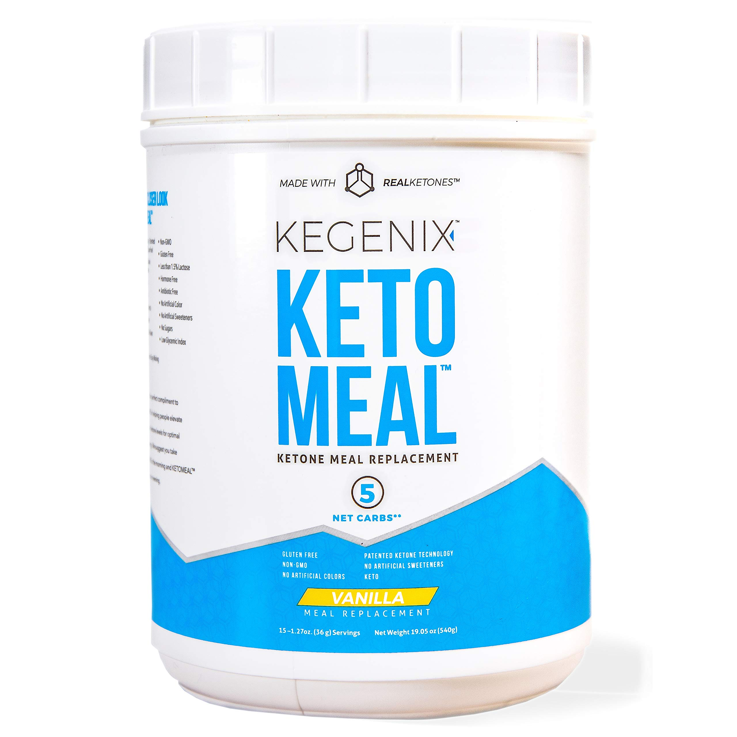 Kegenix Real Ketones Keto Meal Replacement with BHB, MCT, and Protein, 15 Servings, Vanilla