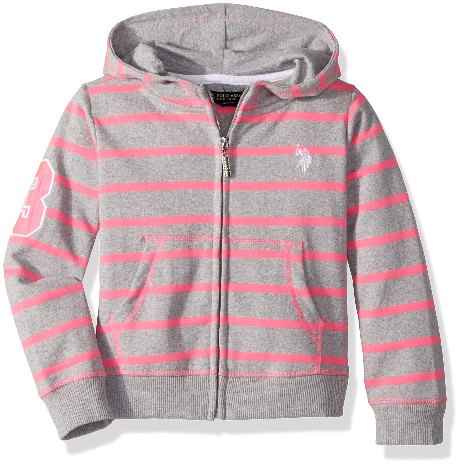 U.S. Polo Assn. Big Girls' Long Sleeve French Terry Hoodie White Stripes Heather Grey, 7/8