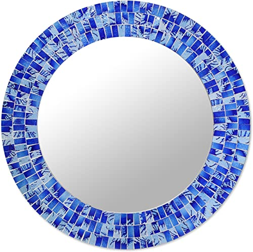 NOVICA Blue Glass Mosaic Wood Framed Round Decorative Wall Mounted Mirror, Tropical Fusion Large