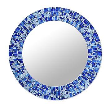 Amazon De Novica Tropischen Fusion Glas Mosaik Spiegel Blau