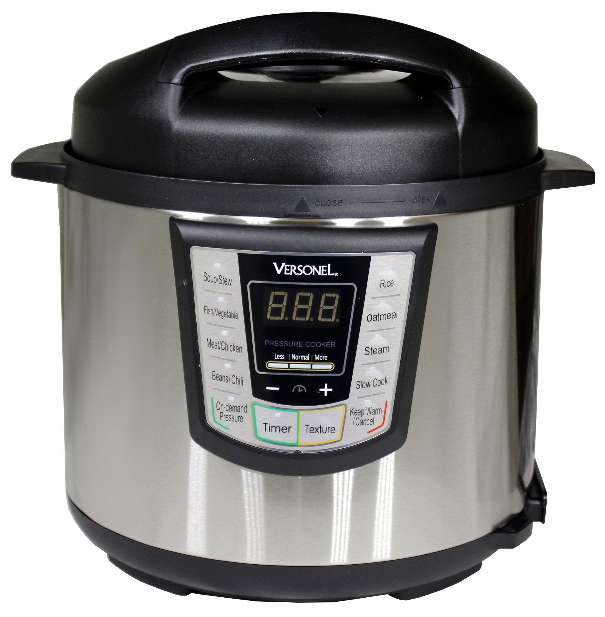 Versonel VSLPC60 Electric Pressure Cooker, Stainless Steel, 6 Quart