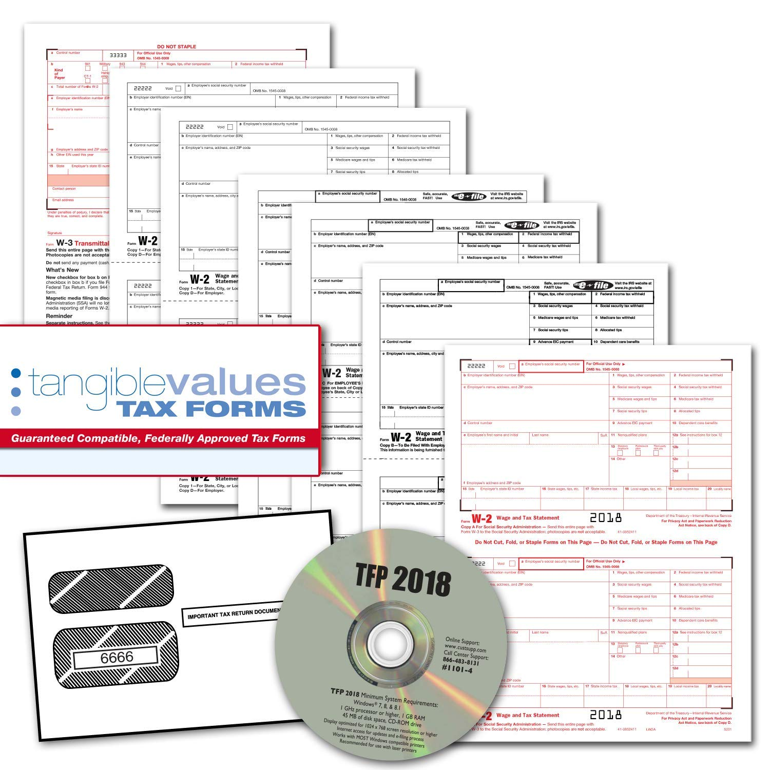 Tangible Values W-2 Laser Forms (6-Part) Kit with Envelopes PLUS TFP SOFTWARE for 50 Employees (2018)