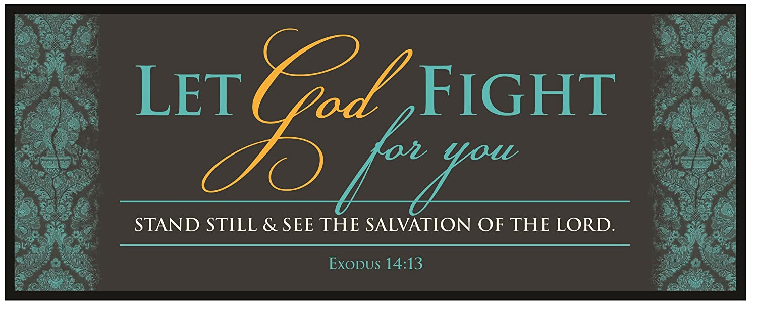 Carpentree Let God Fight for You Canvas Wall Art, 10 Length x 4 Height x 1/2 Width, Blue 83675