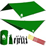 CHILL GORILLA 10' HAMMOCK RAIN FLY TENT TARP Waterproof Camping Shelter. RIPSTOP NYLON & Not Cheap Polyester. Essential Survival Gear. Stakes Included. Lightweight. Quality. Easy to setup.