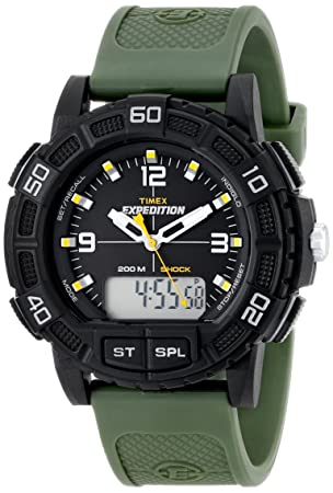 Amazon.com: Timex Mens T49967 Expedition Double Shock Black Resin Watch with Green Resin Strap: Timex: Watches