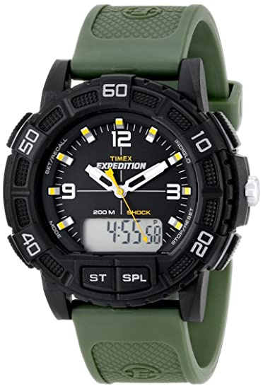 Timex Mens T49967 Expedition Double Shock Black Resin Watch with Green Resin Strap