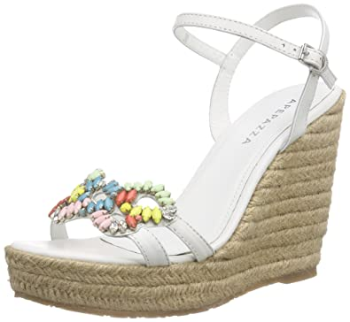 Candy Gaucho, Sandales Bout Ouvert Femme - Blanc - Weiß (Bianco), 39Apepazza